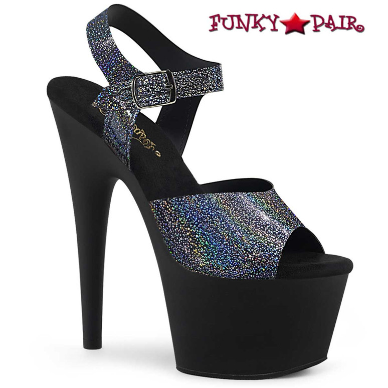 Pleaser | Adore-708N-MG, Black With Silver Hologram Platform Sandal