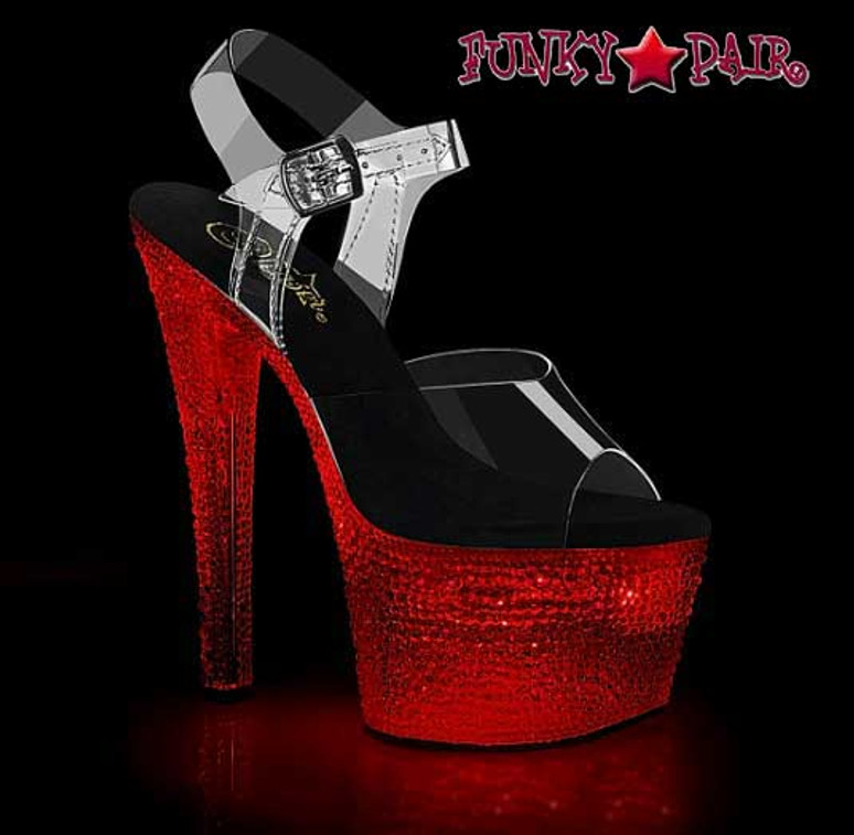 Flashdance-708XTAL, Lite-Up Stripper Shoes | Sandal with Crystal Stones color red