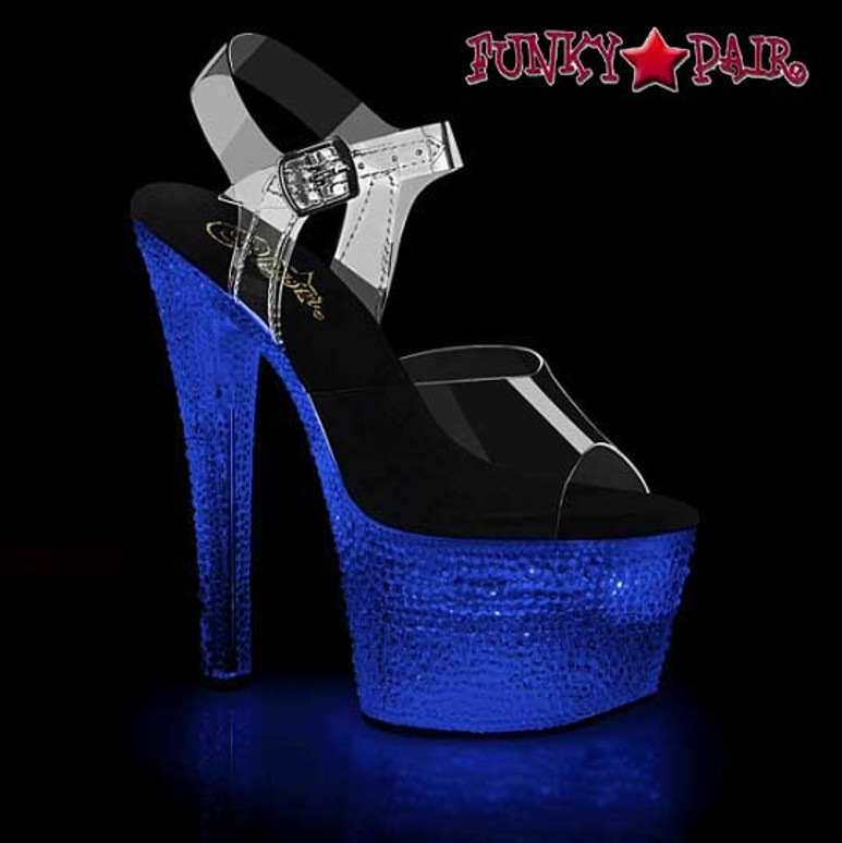 Lite-Up Stripper Shoes | Flashdance-708XTAL, Sandal with Crystal Stones color blue