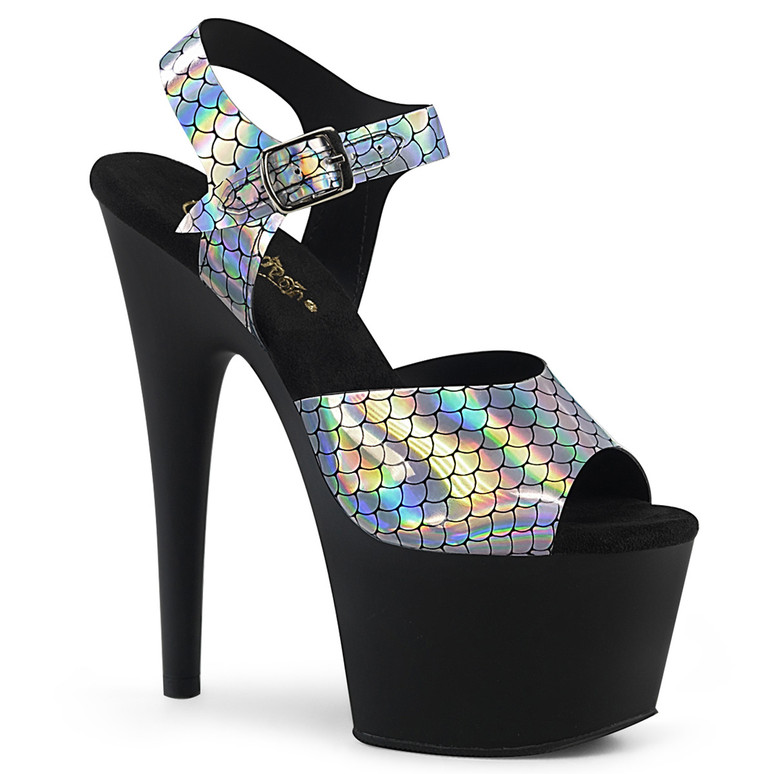 Adore-708N-MS, 7 Inch Mermaid Scales Black Sandal by Pleaser color Black/Silver