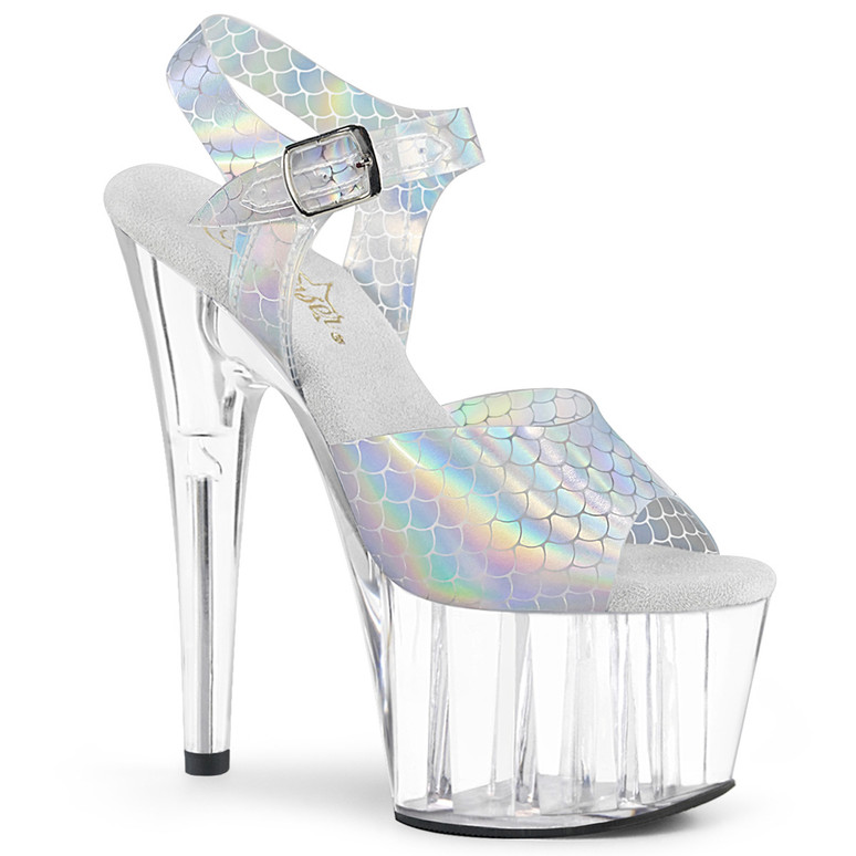 Pleaser   Adore-708N-MS, 7 Inch Clear Mermaid Scales Sandal color Clear/Silver