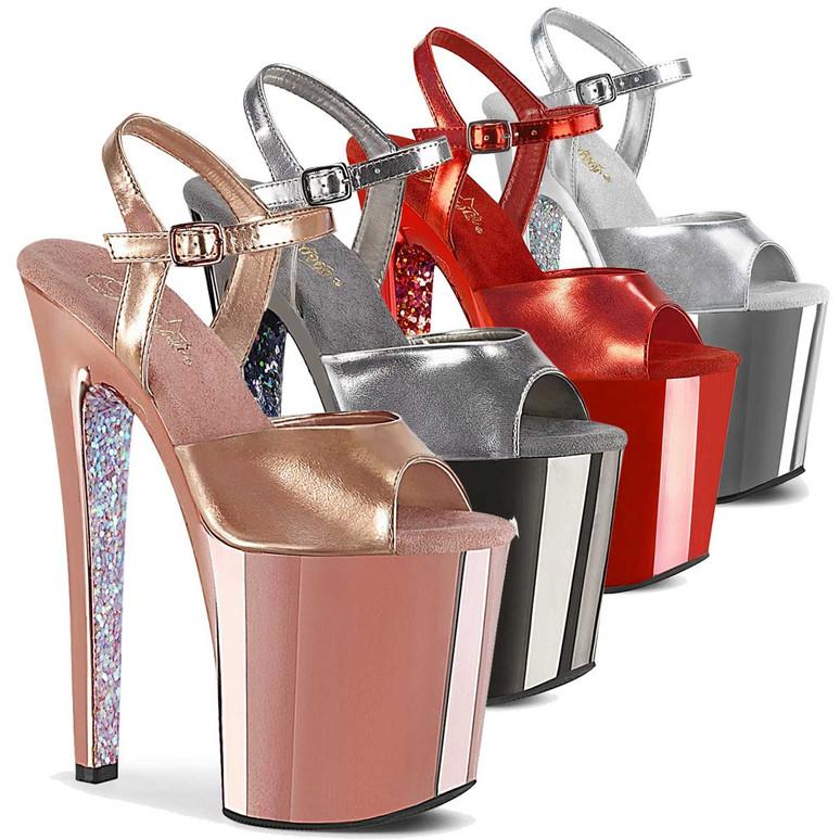"Pleaser | Xtreme-809TTG, 8"" Chrome Platform Sandal with Glitters"