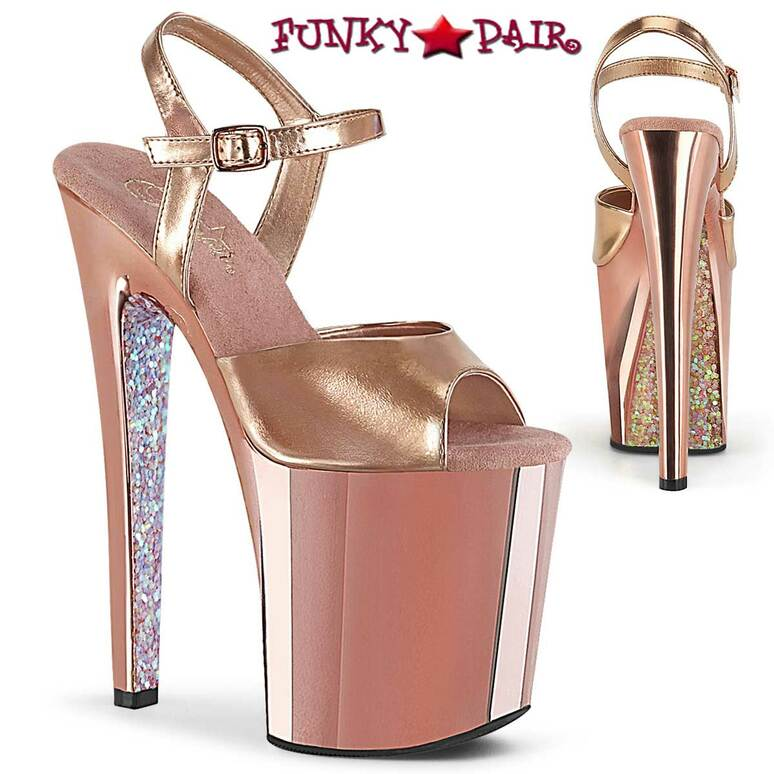 "Pleaser | Xtreme-809TTG, 8"" Rose Gold Chrome Platform Sandal with Glitters"