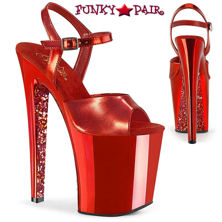 """Xtreme-809TTG, 8"""" Red Chrome Platform Sandal with Glitters by Pleaser"""