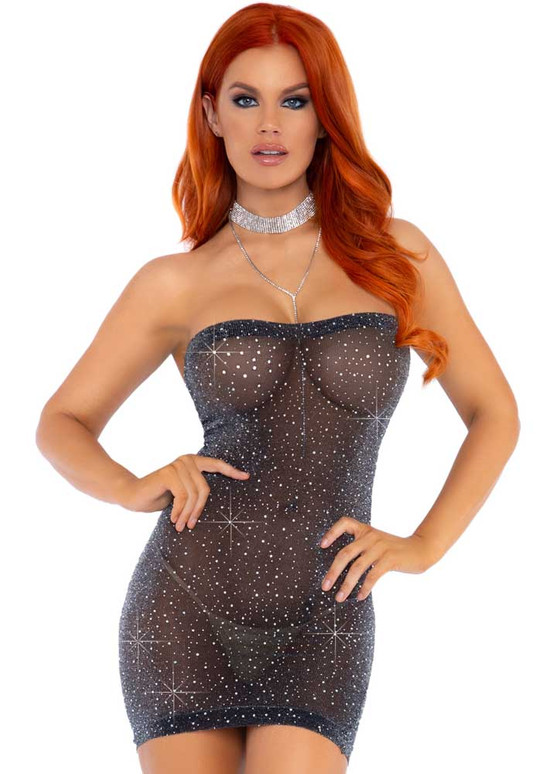 Leg Avenue LA86151, Sheer Luxe Rhinestones Tube Dress