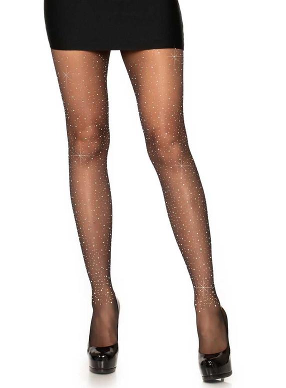 Black Sheer Rhinestones Pantyhose by Leg Avenue LA7957