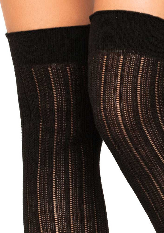 LA6926, Rib Knit Over The Knee Socks color black close up