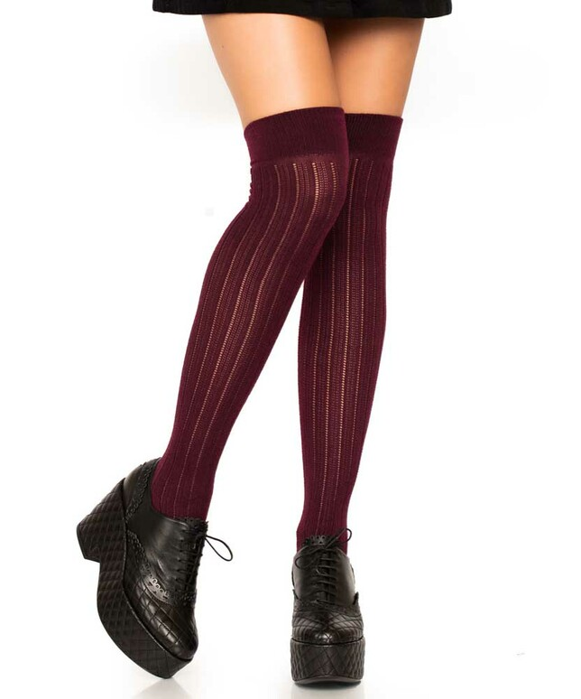 LA6926, Rib Knit Over The Knee Socks color Burgundy