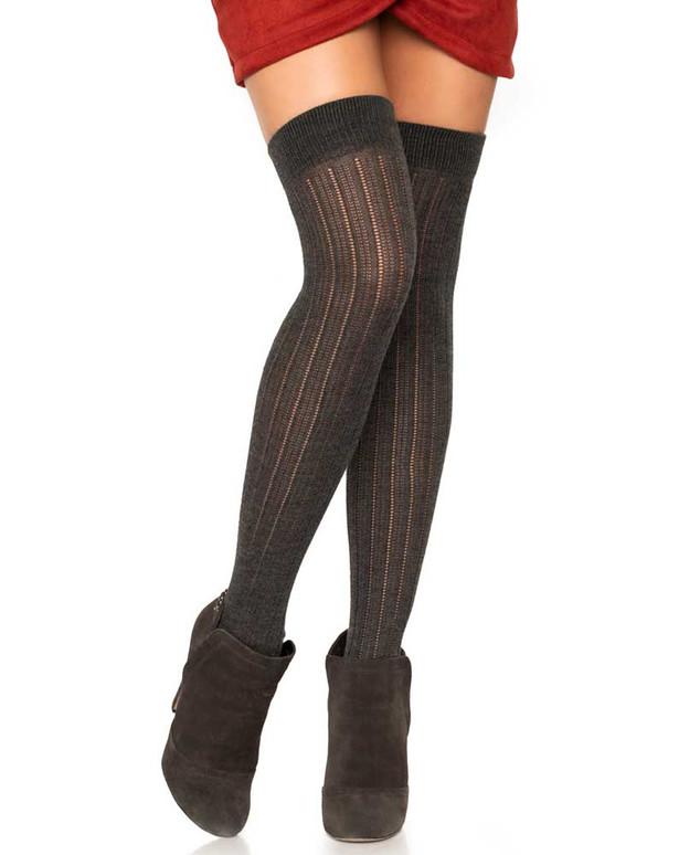 LA6926, Rib Knit Over The Knee Socks color grey