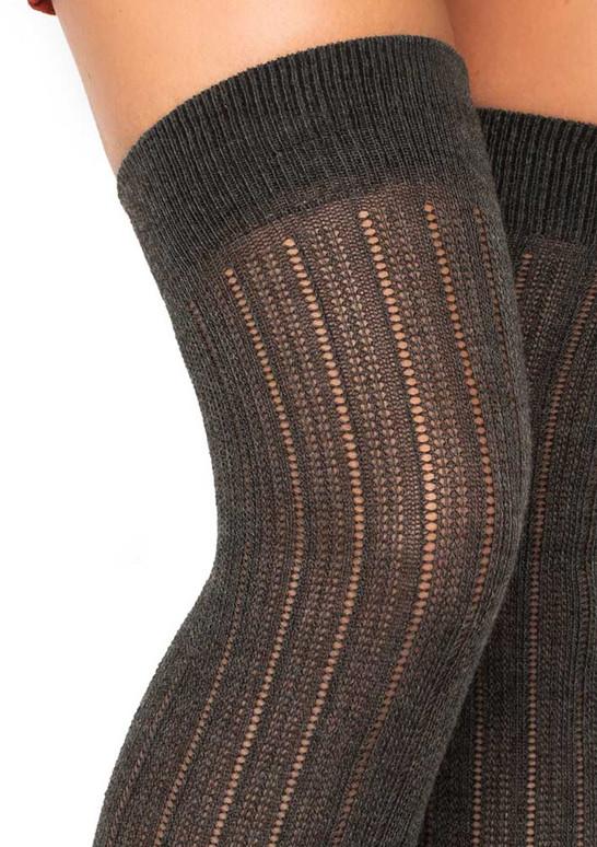 LA6926, Rib Knit Over The Knee Socks color grey close up