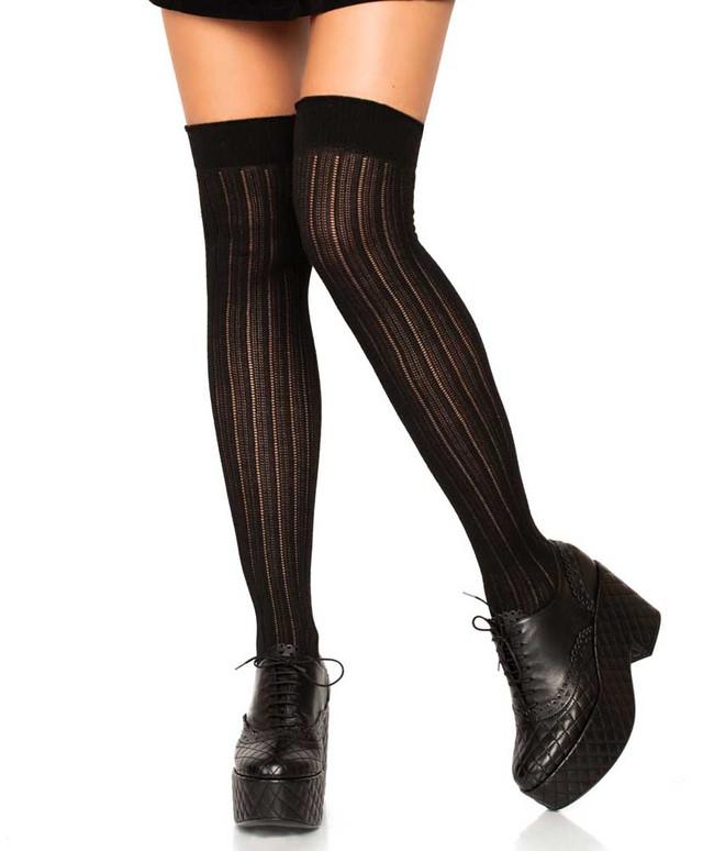 LA6926, Rib Knit Over The Knee Socks color black