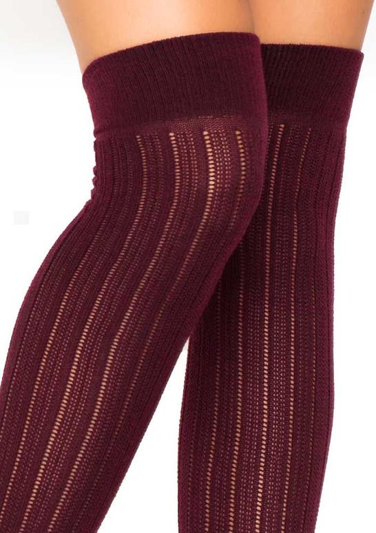 LA6926, Rib Knit Over The Knee Socks color burgundy close up