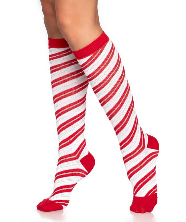 LA5616, Candy Cane Lurex Socks by Leg Avenue