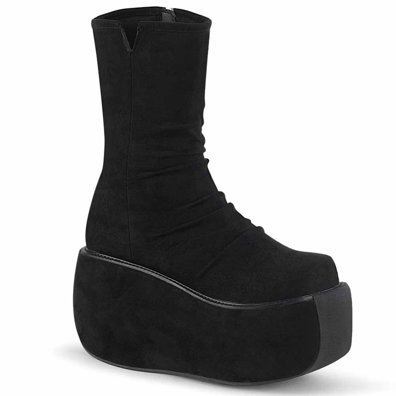 Demonia | Violet-100, Platform Ankle Boots with Ruched Front black faux suede