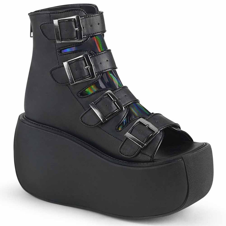 Demonia | Violet-150, Buckles Strap Bootie Sandal Color Black Vegan Leather-Hologram