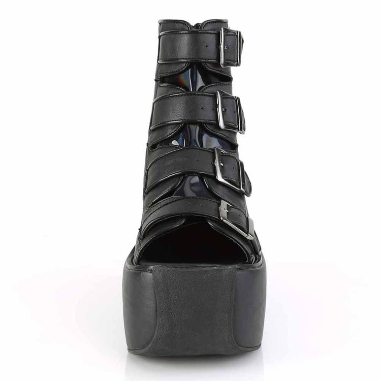 Violet-150, Buckles Strap Bootie Sandal Color Black front view