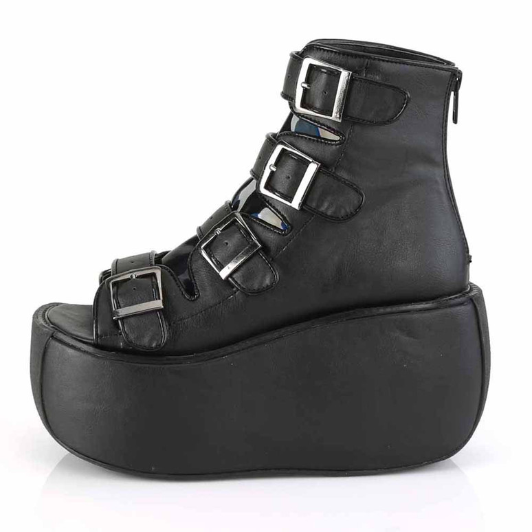 Violet-150, Buckles Strap Bootie Sandal Color Black side view
