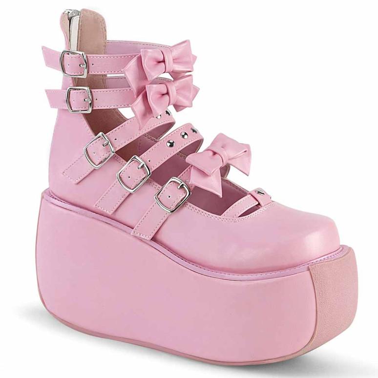 Demonia | Violet-45, Multi Straps Platform Maryjane Pump pink vegan leather