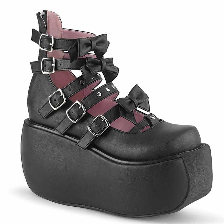 Demonia | Violet-45, Multi Straps Platform Maryjane Pump black vegan leather