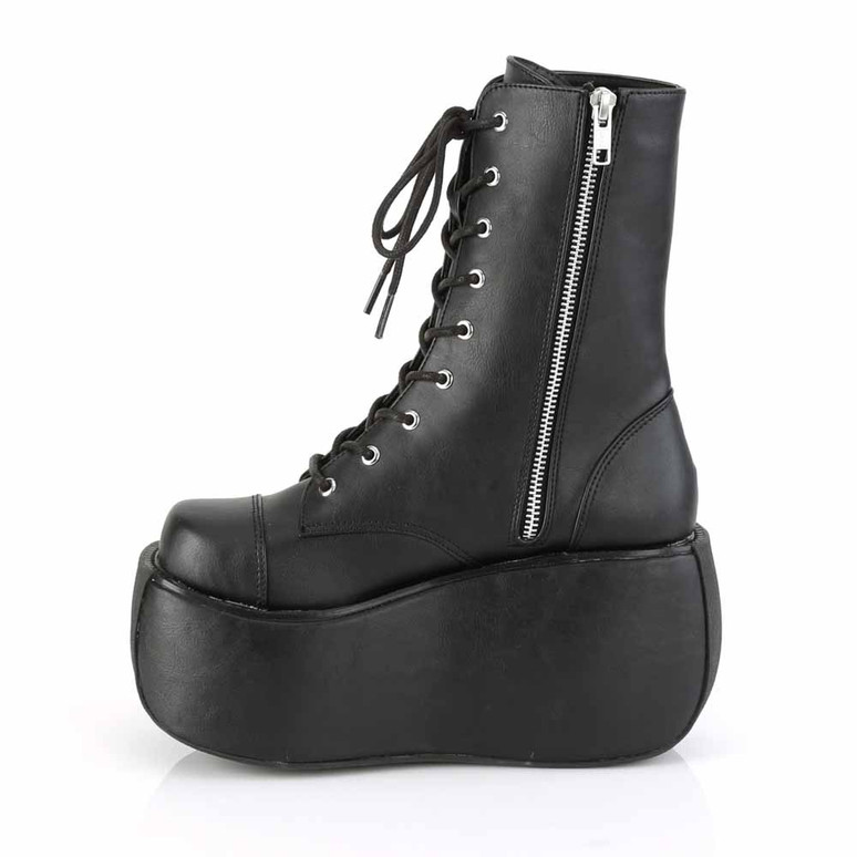 Violet-120, Gothic Lace-up Ankle Boots side zipper view