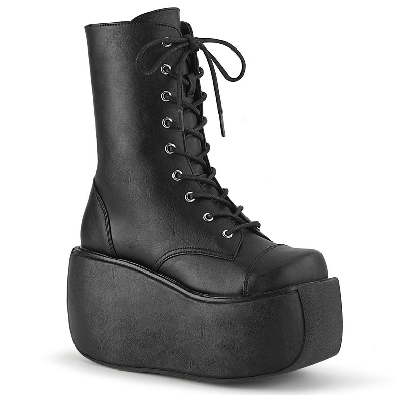 Demonia | Violet-120, Gothic Lace-up Ankle Boots black vegan leather