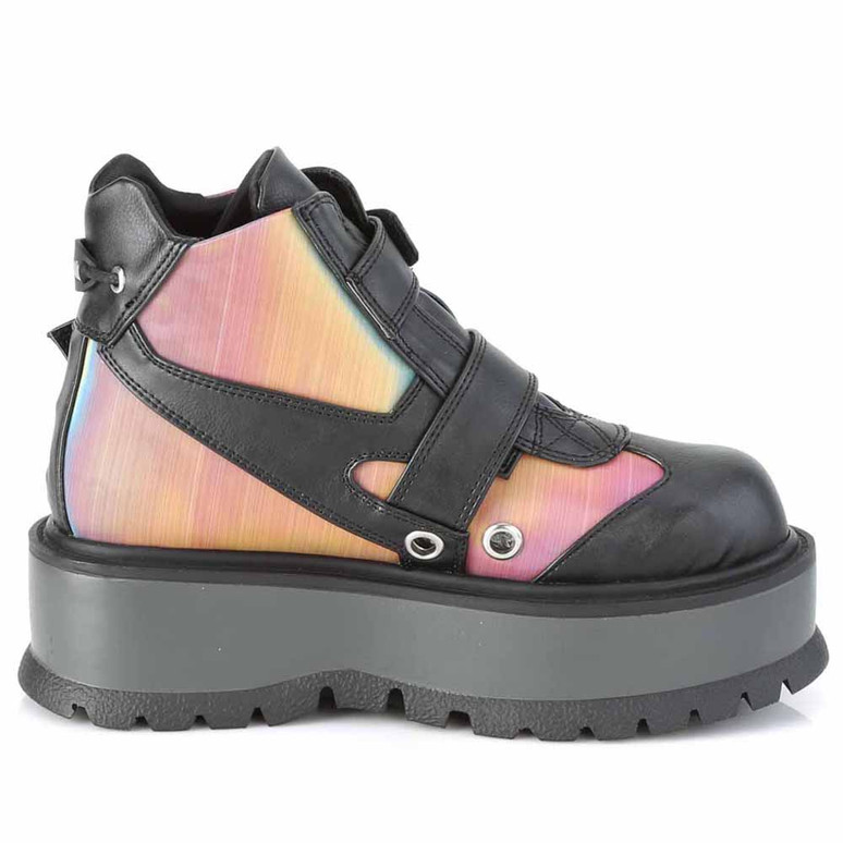 Slacker-32, Gothic Rainbow Ankle Boots inner side view