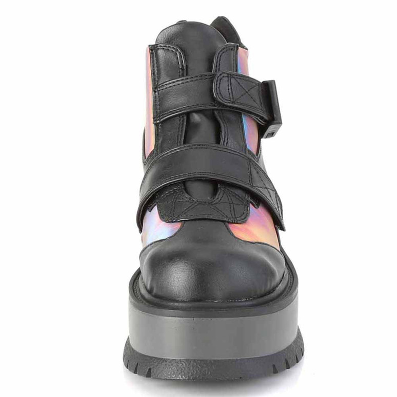 Demonia | Slacker-32, Gothic Rainbow Ankle Boots front view