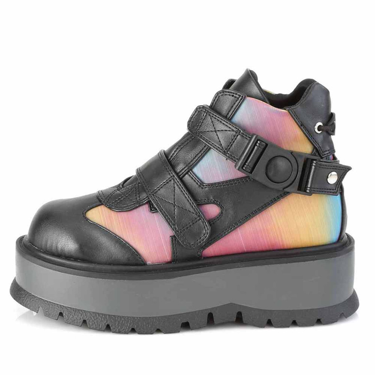 Slacker-32, Gothic Rainbow Ankle Boots by Demonia side view