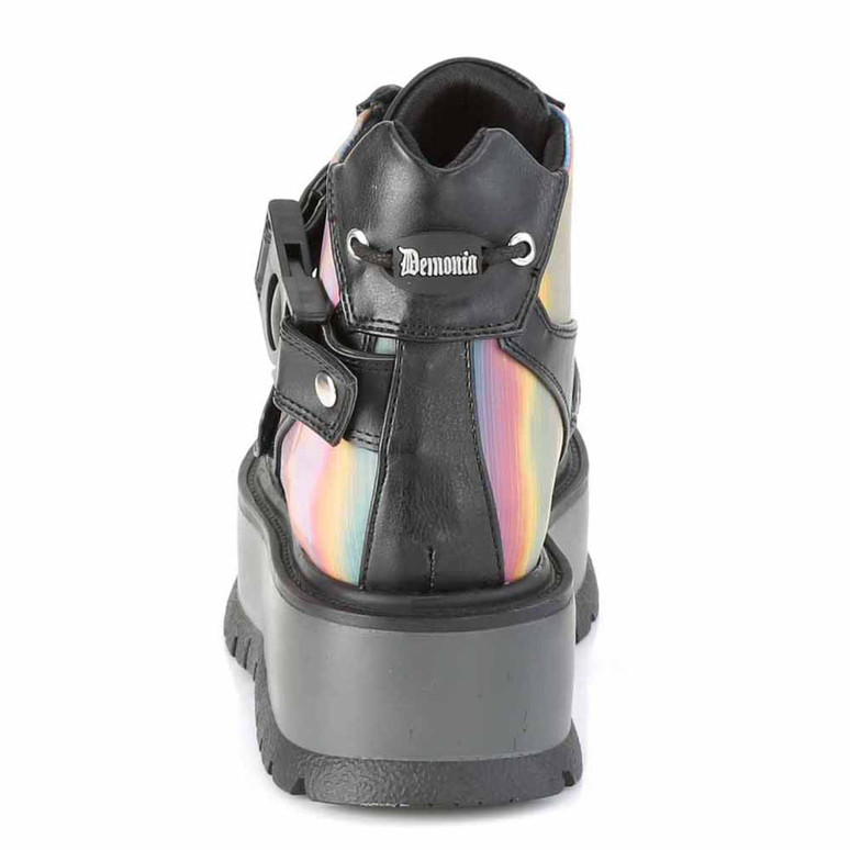 Slacker-32, Gothic Rainbow Ankle Boots back view