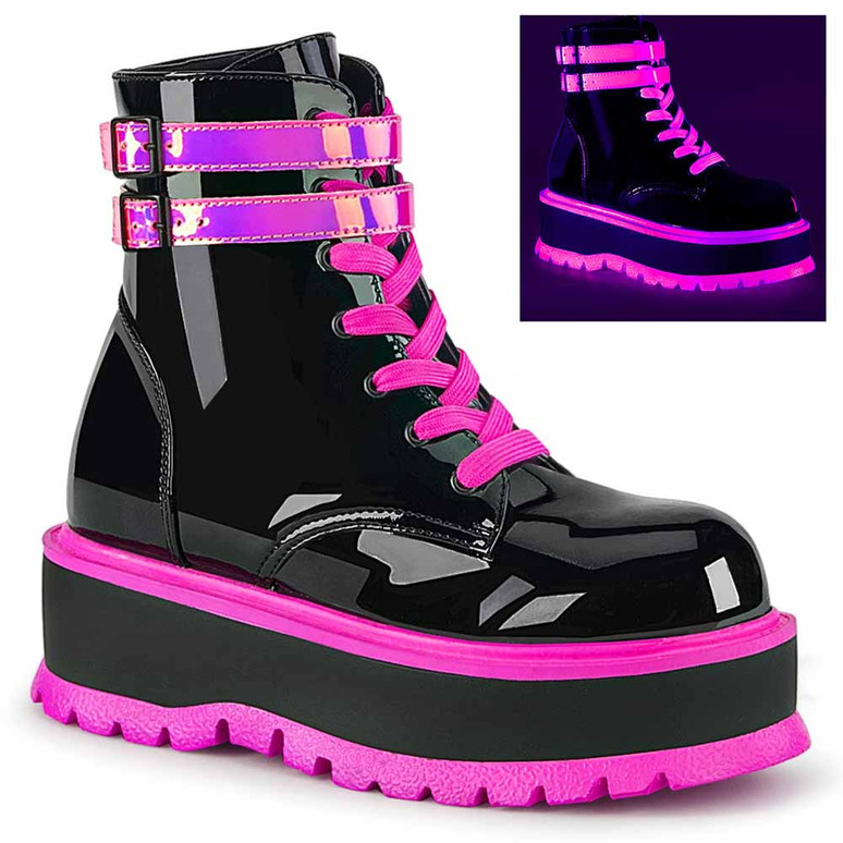 Demonia | Slacker-52, Raver Ankle Boots with Pink UV Reactive