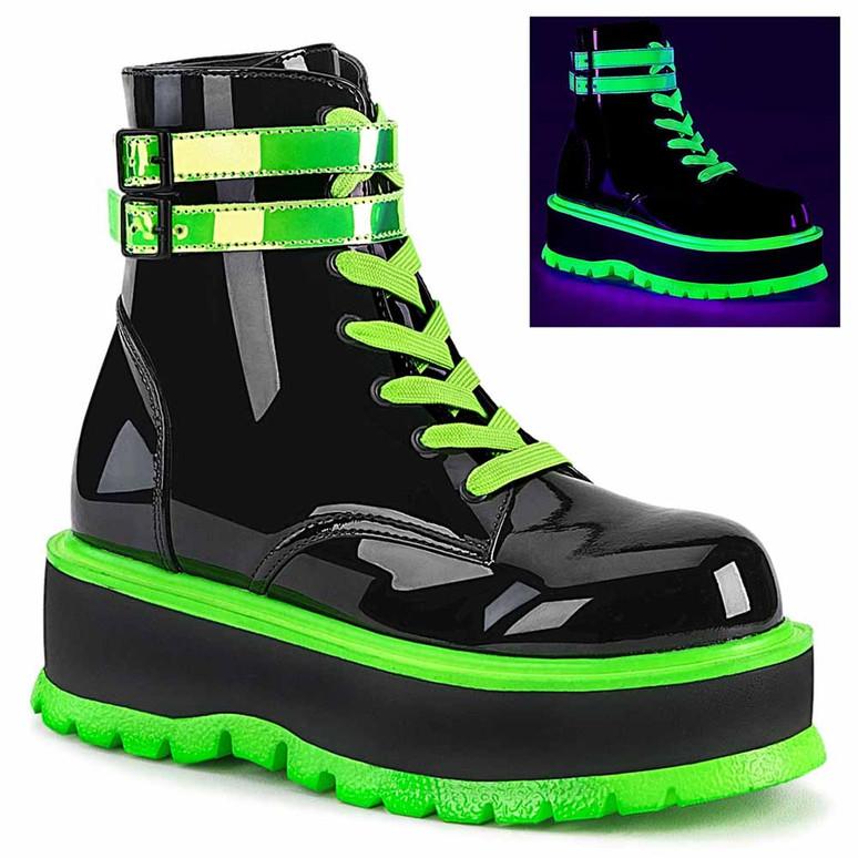 Demonia | Slacker-52, Raver Ankle Boots with Green UV Reactive