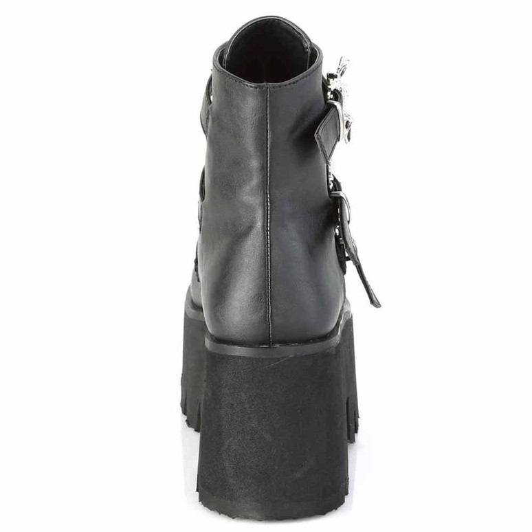 ASHES-55, Goth Chunky Platform with Bats Buckle back zipper view
