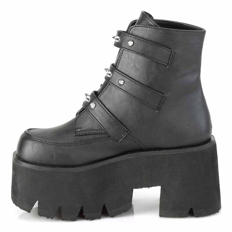 Demonia | ASHES-55, Goth Chunky Platform with Bats Buckle inner side view