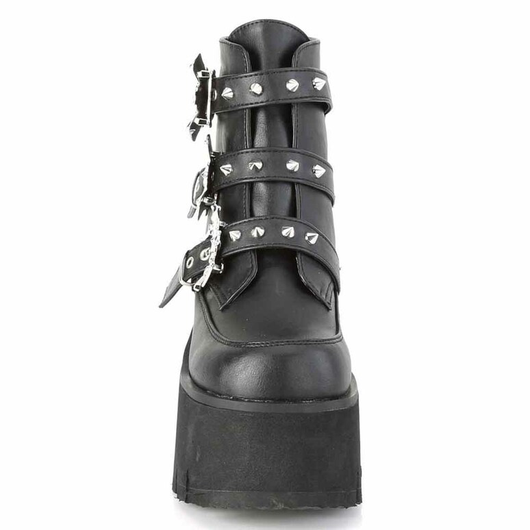 Demonia | ASHES-55, Goth Chunky Platform with Bats Buckle front view