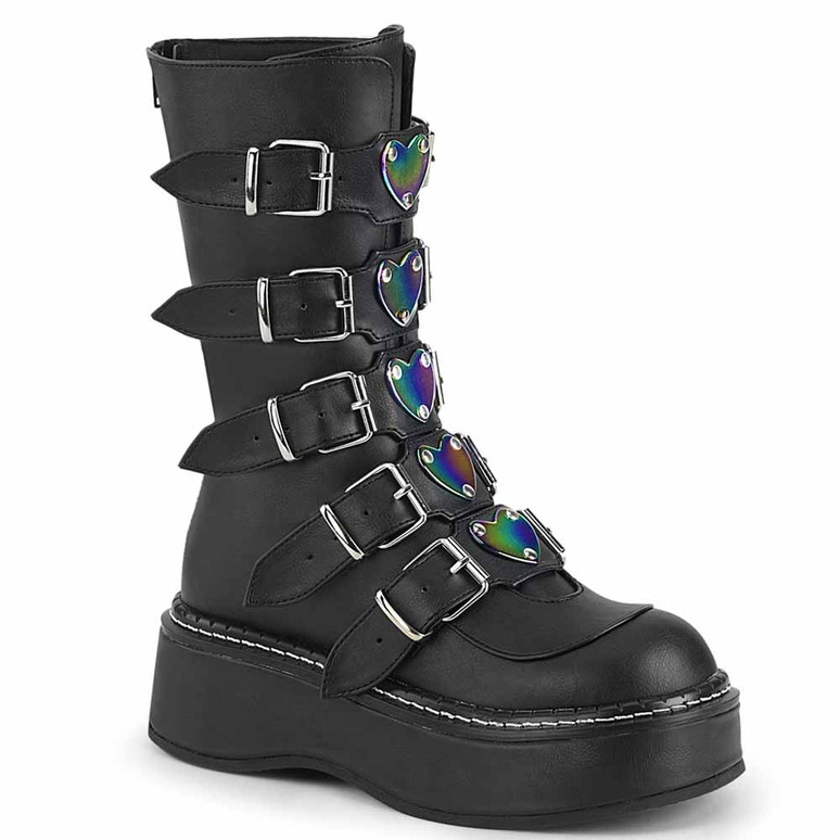 Demonia | Emily-330, Buckles with Heart Plate Mid Calf Boots black vegan leather