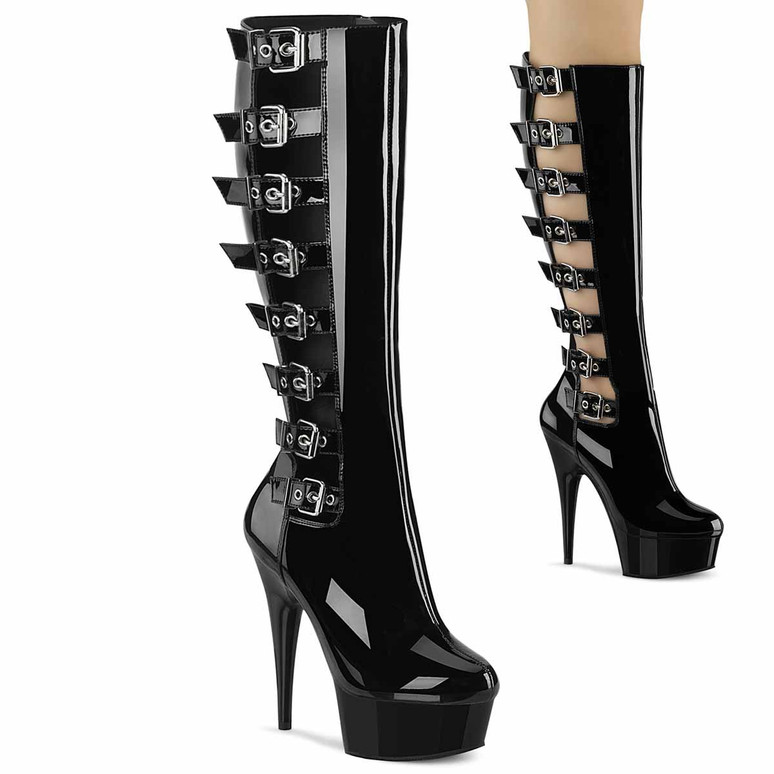Pleaser   Delight-2047, 6 Inch Back Buckles Knee High Boots