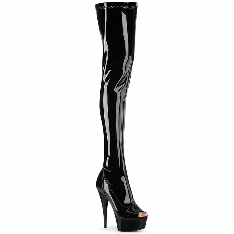 Pleaser | Delight-3011, 6 Inch Peep-Toe Thigh High Boots