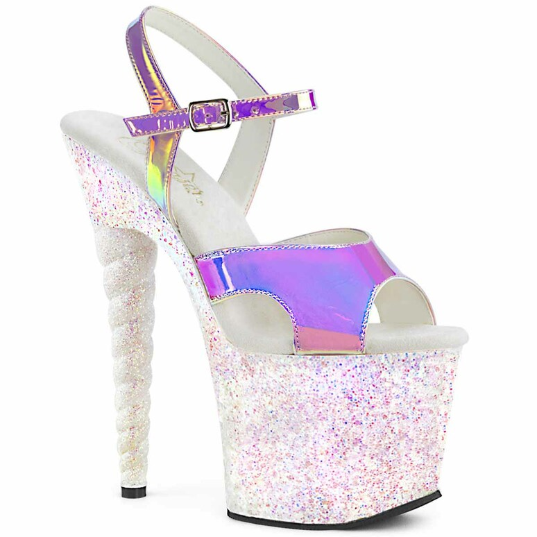 Pleaser | Unicorn-711LG, Holographic Glitter Platform Sandal