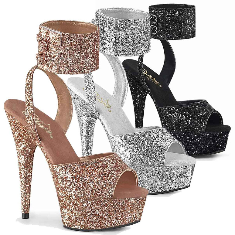 Pleaser | Delight-691, 6 Inch Glitter Ankle Cuff Platform Sandal