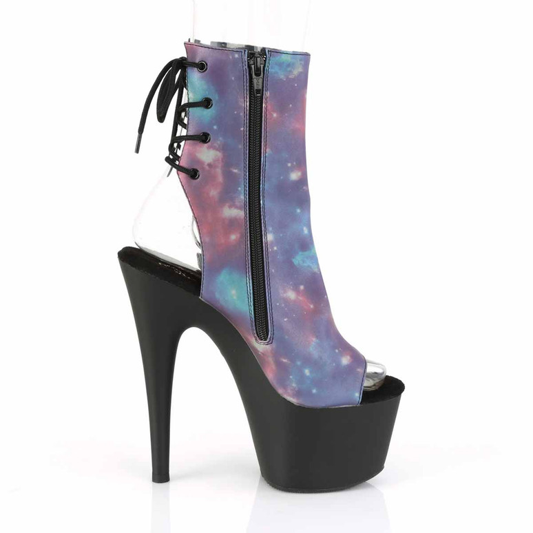Adore-1018REFL, Open Toe Ankle Boots with Reflective Galaxy Print by Pleaser zipper side view