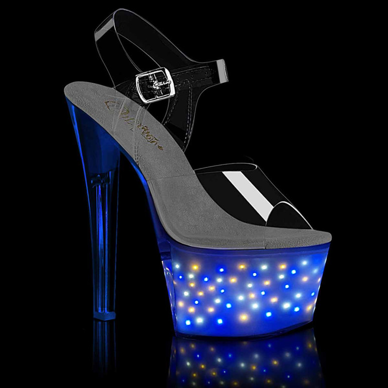 Pleaser | Echolite-708, Exotic Dancer Shoes with Mini Star Light-up