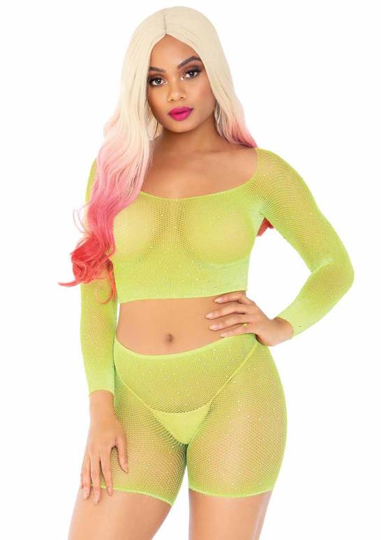 Leg Avenue | LA89249, Rainbow Net Romper color neon yellow