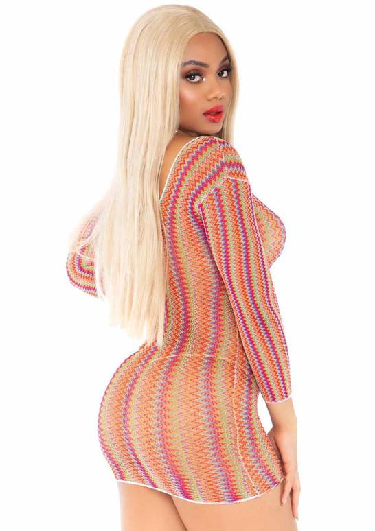 LA86158, Rainbow Zig Zag Net Dress back view by Leg Avenue