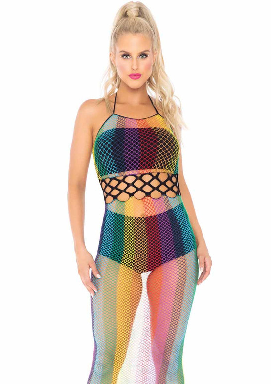Leg Avenue | LA88021, Rainbow Net Long Halter Dress