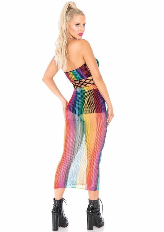 LA88021, Rainbow Net Long Halter Dress back view by Leg Avenue