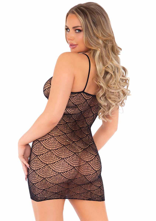 LA86162, Shell Net Mini Dress back view by Leg Avenue