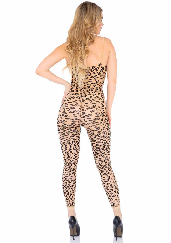 LA89267, Leopard Footless Bodystocking back view by Leg Avenue