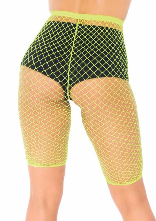 LA8882, Industrial Net Biker Shorts color neon green back view by leg avenue