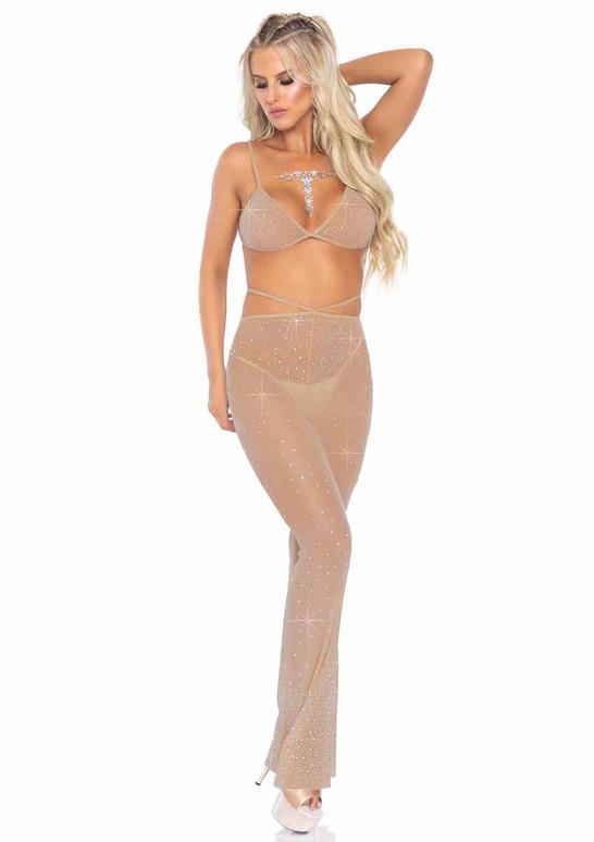 Leg Avenue | LA81612, Rhinestone Mesh Top and Flared Pants color Nude