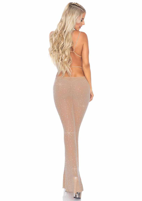 LA81612, Nude Rhinestone Mesh Top and Flared Pants back view by Leg Avenue